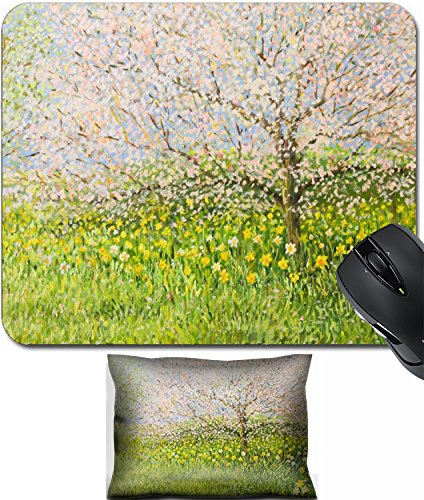 Springtime Oil Painting (MSD Mouse Wrist Rest and Small Mousepad Set, 2pc Wrist Support design 18577442 An oil painting on canvas of a springtime natural landscape with blooming trees)