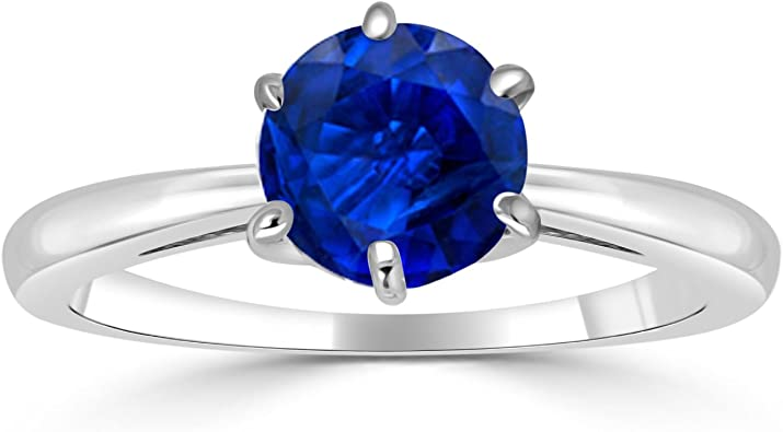 Blue Cushion Cut Diamond Ring  Prong Set Diamond Ring  Solitaire Accents Diamond Ring  Promise Ring  Birthday Gift Ring  Occasion Ring