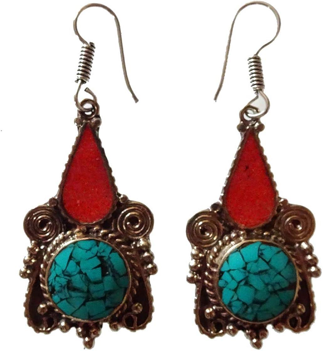 Pendientes para mujer Chica Hecho a mano Plata tibetana Chapado Boho Étnicas piedras preciosas antiguas Turquesa Rojo Coral Gota Cuelga Boho Bohemio Pendientes tibetanos joyería de moda Por artesano