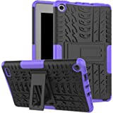 GreenElec Amazon Fire 7 2017 Tablet Case - Dual Layer Hard PC & Soft TPU Hybrid Armor Protective [Stand Function] Anti-slip Cover for Amazon Kindle Fire 7 (2017) Tablet (Black+Purple)