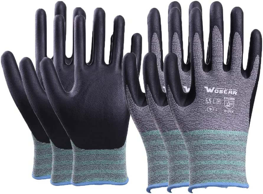 Wostar Working Gloves for Women and Men, Non-slip Gardening Gloves Coating Barehand Sensitivity Work Glove for Garden Yard Outdoor Work, Fishing, Restoration