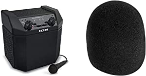 ION Audio Tailgater Plus - 50W Portable Outdoor Wireless Bluetooth Speaker with 50 Hour Battery, Microphone, Radio and USB Charging & On-Stage Foam Ball-Type Microphone Windscreen, Black