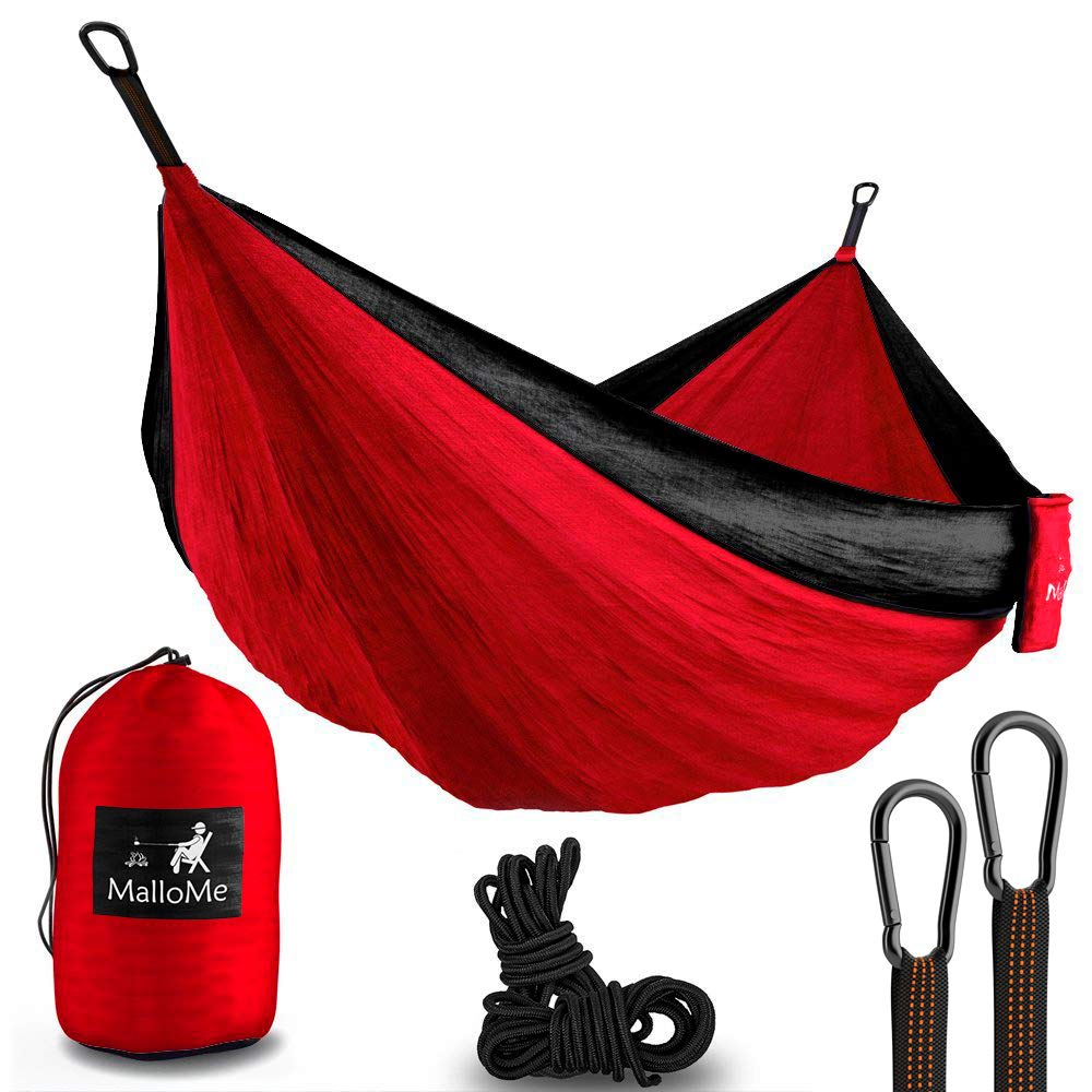 Double & Single Portable Camping Hammock - Parachute Lightweight Nylon with Hammok Tree Ropes Set- 2 Person Equipment Kids Accessories Max 1000 lbs Breaking Capacity - Free 2 Carabiners MalloMe