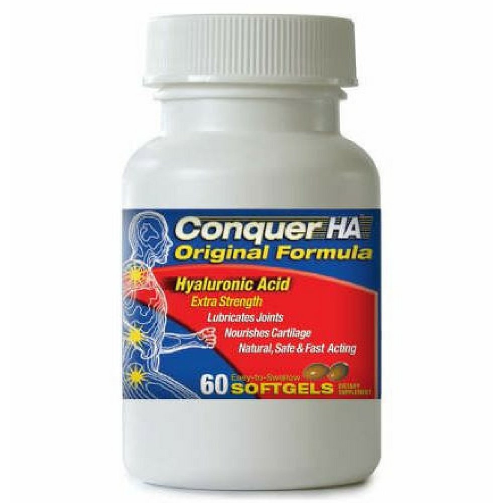 Conquer HA Original Formula Patented form of Hyaluronic Acid to reduce pain, improve mobility, flexibility and joint function.