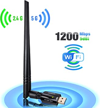 AC1200Mbps Network Card USB3.0 Dual Band 2.4G//5G Wifi Adapter 802.11ac Wireless