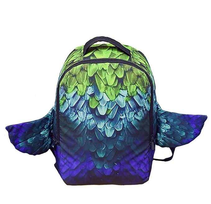 548534ce805 YOURNELO Boy s Fashion European Style Creative Monster Rucksack School  Backpack Bookbag (Feather Green)