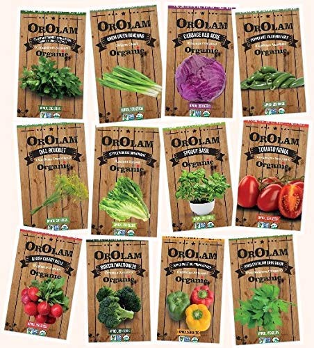 Organic Non-GMO Gourmet Culinary Herb & Vegetable Seed Collection, 12 Individual Seed Packets with Planting Instructions (Basil, Chives, Cilantro, Dill, Roma, Hot Pepper & More!) Seeds by OrOlam