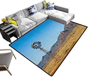 Windmill Household Carpet Flinders Ranges South Australia Mountains Barren Land Summer Indoor/Outdoor Area Rugs Earth Yellow and Pale Blue (5'x7')