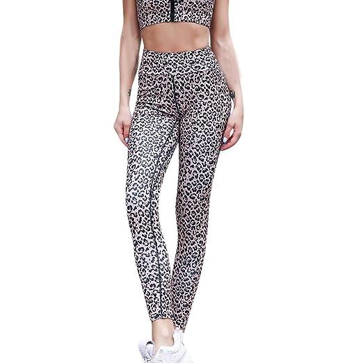 bb56be757e8b7a High Waist Yoga Pants Women Leopard Print Tall Black Splice Pants Sports  Legging (Yellow,