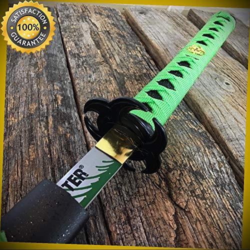 (ZOMBIE HUNTER GREEN Katana NINJA SAMURAI Sword BIO HAZARD TSUBA Carbon Steel for Hunting Camping Cosplay)