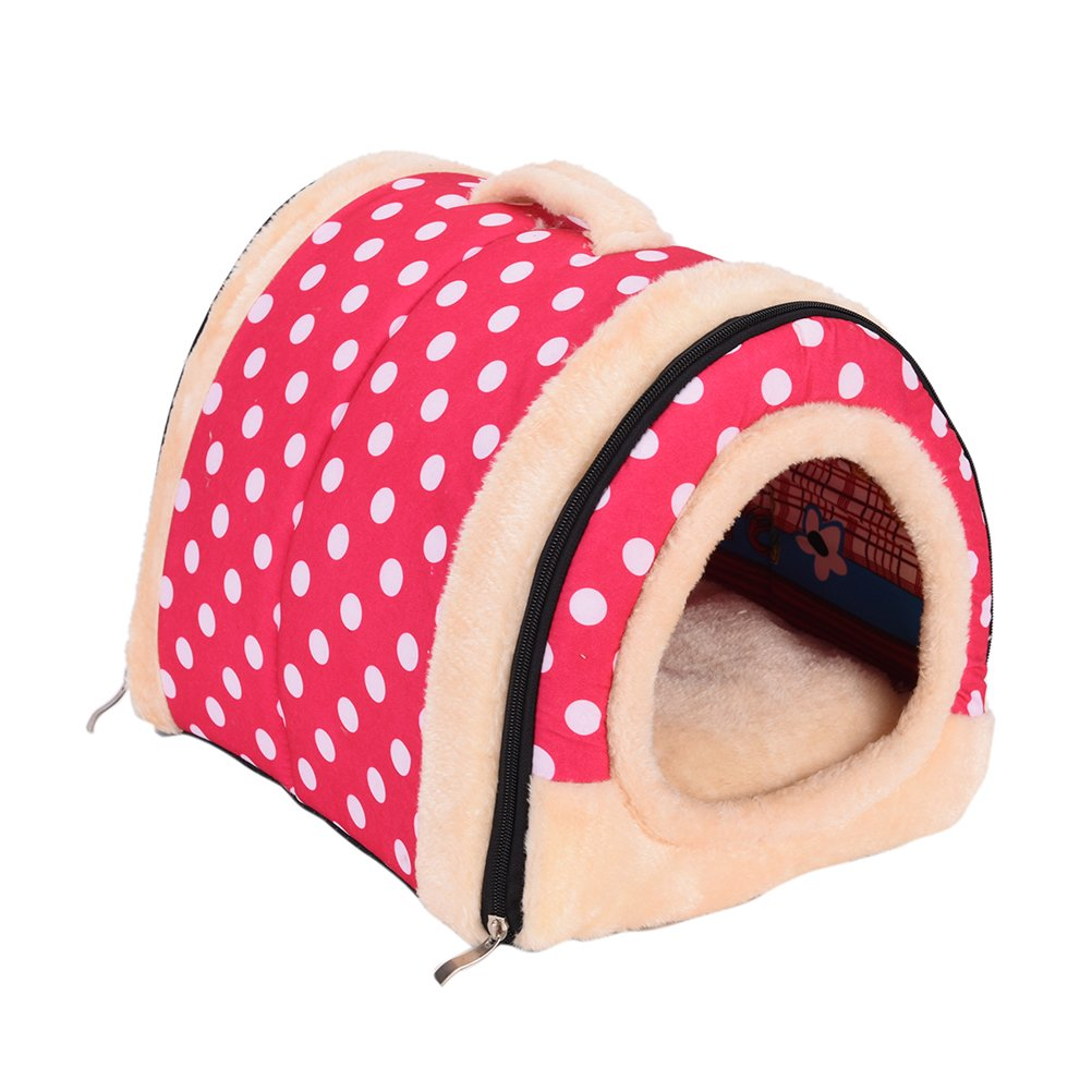 1 Pc Foldable Animal Sleep Bed Kennel Mat Pad Cushion Hanging Cozy Pet House Cage Hammock Cave Hut Winter Warm Nest Tent for Dog Cat Parrot Chinchilla Hamster Guinea Pig Rabbit Squirrel Hedgehog Rat