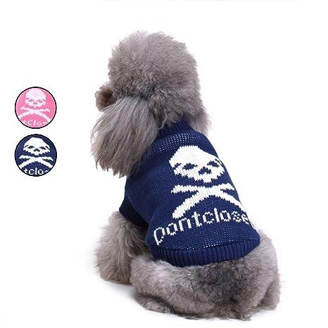 2 patrones de búho de punto jersey de perro, azul vacaciones prendas de punto prendas