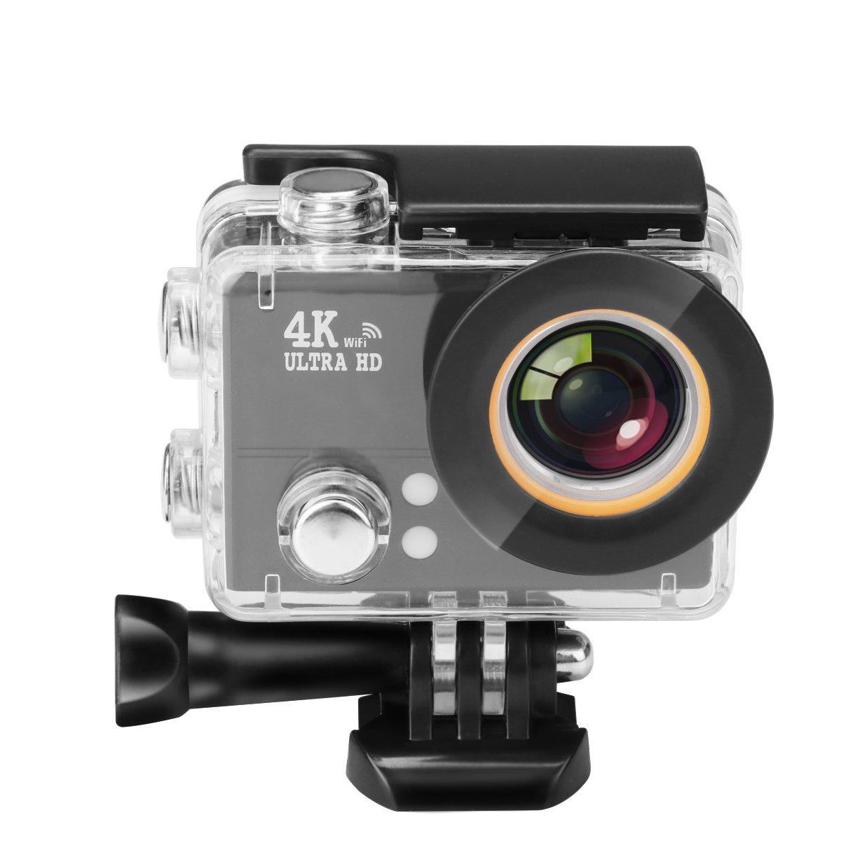 4K Cámara de Acción, A0ZBZ WIFI Sport Anti-Shake Cámara Impermeable con 2.4G de Control Remoto, Full HD 2.0