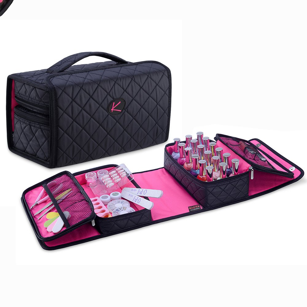 KIOTA Compact Nail Polish and Manicure Set Storage Case, Secure Soft Organizer with Magnetic Closure and Handle, Midnight Black
