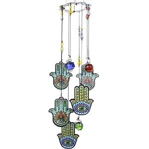 YUFENG Hamsa Hand Luck Charm Wind Chimes, 15''H Garden Chimes Suncatcher,Metal Glass Decor for Home Garden Decoration (Hands)