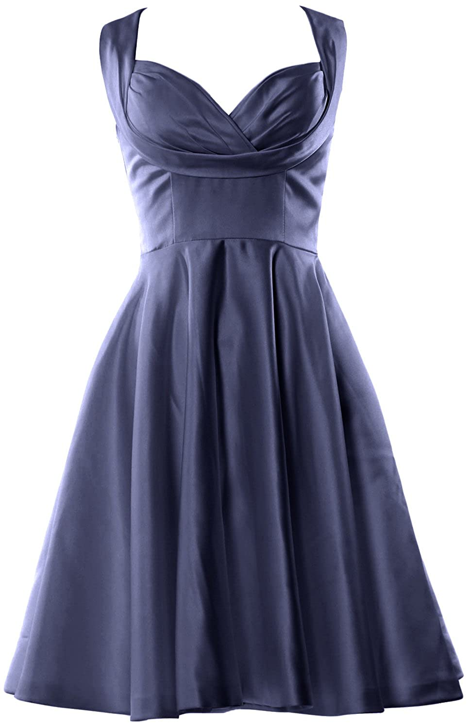 MACloth Women Straps Vintage Short Cocktail Party Dress Wedding Formal Gown