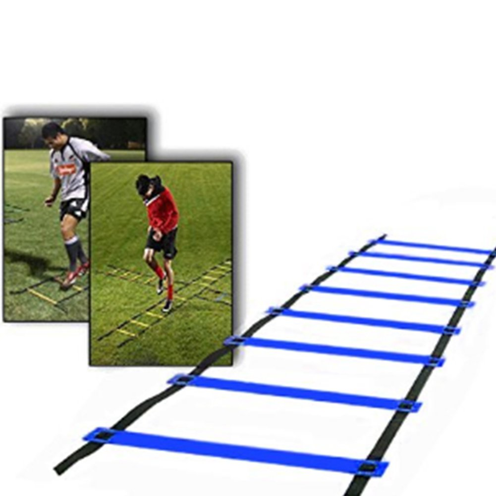 Football Speed training Ladder Quick 5M 9-Rung Durable Training Ladders for Soccer Running Fitness Feet Training to Increase Speed Coordination and Sense of Balance (blue) GRD
