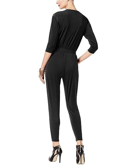 e17ed639b62 Amazon.com  MICHAEL Michael Kors Women s Petite Embellished Surplice Jumpsuit  Black Medium  Clothing