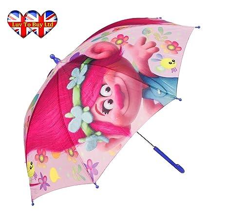 Paraguas, Trolls DreamWorks Poppy Kids paraguas, de excelente calidad, oficiales Trolls marca