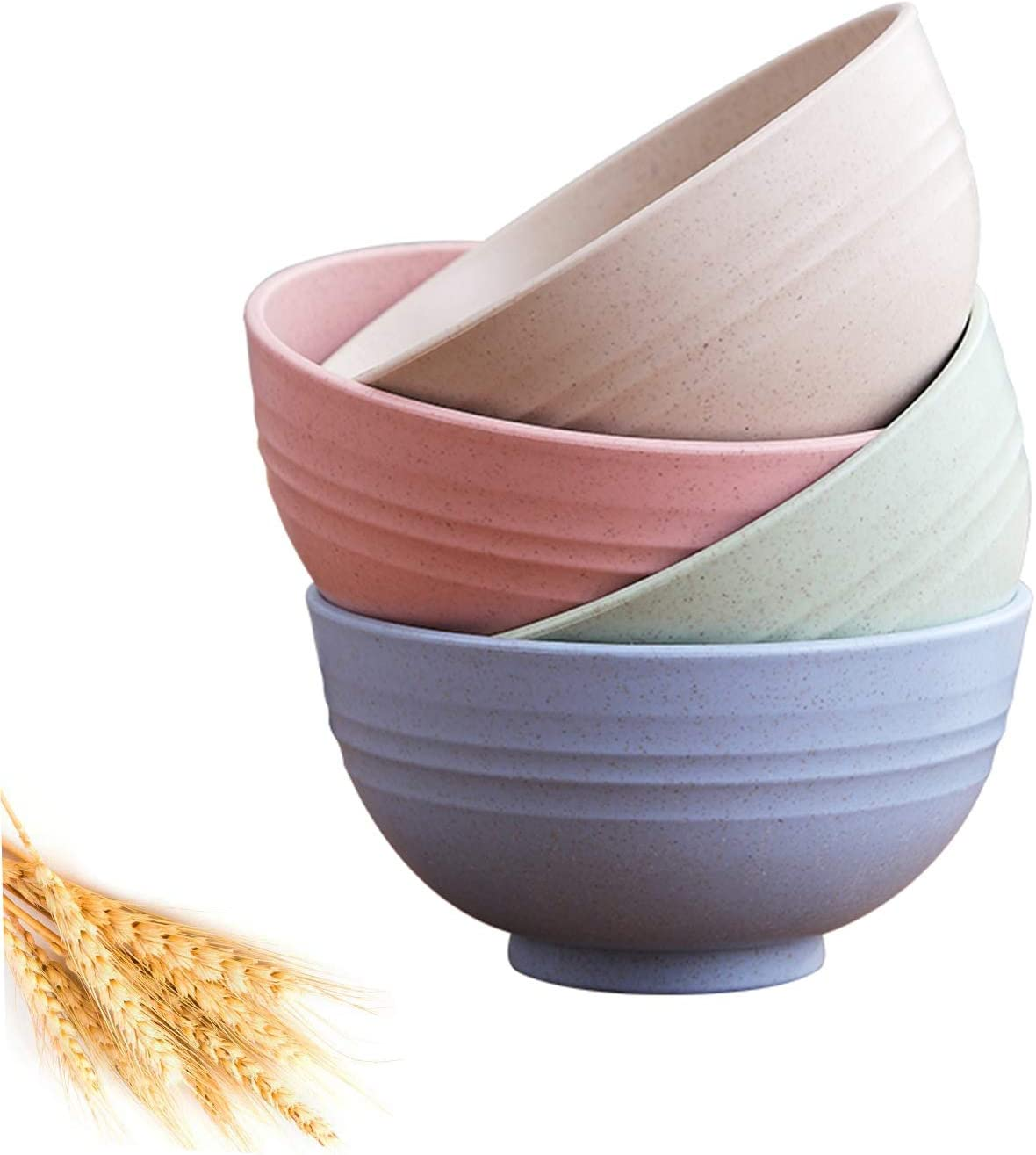 Unbreakable Cereal Bowls - 24 OZ Wheat Straw Fiber Lightweight Bowl Sets 4 - Dishwasher & Microwave Safe - for,Rice,Soup Bowls