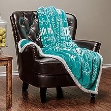 "Chanasya Super Soft Ultra Plush Powerful Hope and Faith inspirational Messages Posivite Energy Comfort Caring Uplifting Gift Teal Blue Microfiber Throw Blanket ( 50"" x 65"" )"