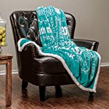 Chanasya Hope and Faith Inspirational Message Print Super Soft Ultra Plush Cozy Fleece Microfiber Sherpa Posivite Energy Comfort Caring Uplifting Gift Throw Blanket - for Women Men - Teal Blue Blanket