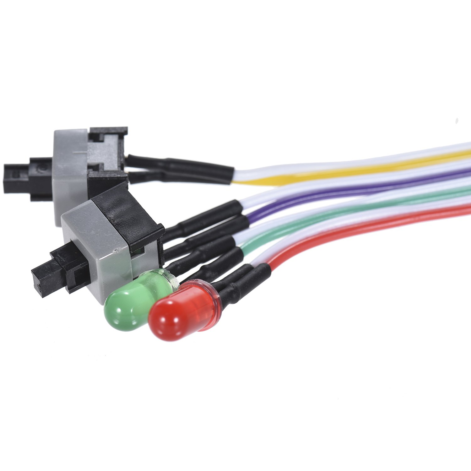 Warmstor 2-Pack Computer Case LED Light Red Green ATX Power Supply Reset HDD Switch Cable 27-inch Long ATX Case Front Bezel Wire Kit by Warmstor (Image #4)