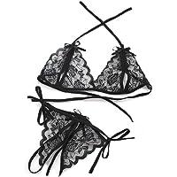 Set Bralette y Braguita Erótica para Mujer, 2 Piezas Ajustable Conjunto Sexy Sensual de Sujetador y Tanga Hilo con…