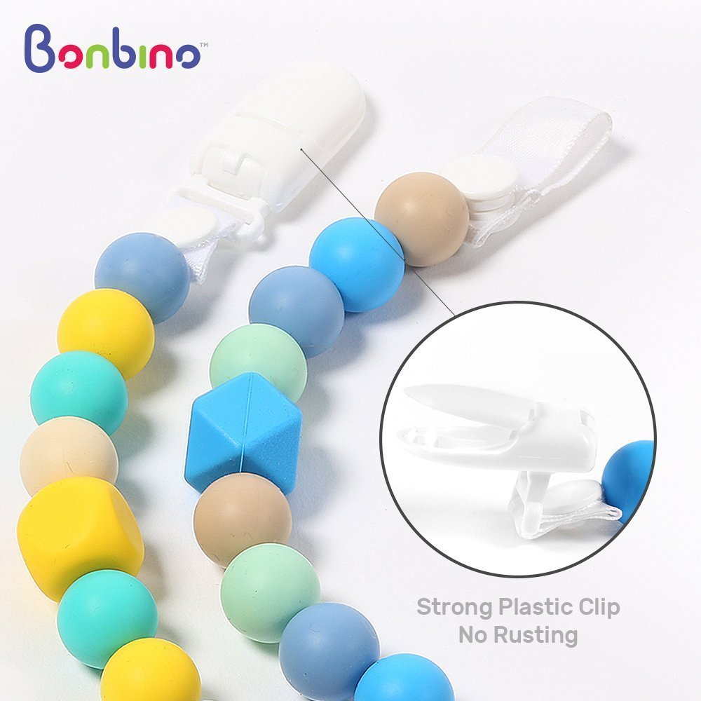 Teether Pacifier Clips - (2 Pack) Silicone Pacifier Holders for MAM, Nuk & Soothie - Fun, Colorful and BPA-Free - Boys Pacifier Holder (Sea Blue + Turquoise Lemon) by Bonbino (Image #4)