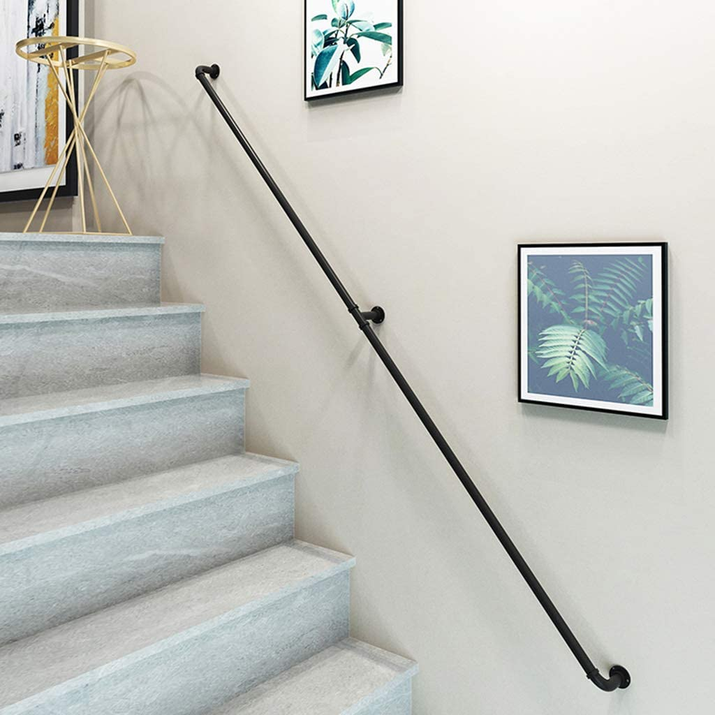 Main Courante Fer forg/é Main Courante descalier pour escalier ext/érieur avec Supports Noir Mat Garde-Corps Parapet Rampe Balustrade-120cm B VAN