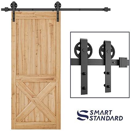 SMARTSTANDARD 6.6 FT Heavy Duty Sliding Barn Door Hardware Kit Single Rail Black Super  sc 1 st  Amazon.com & SMARTSTANDARD 6.6 FT Heavy Duty Sliding Barn Door Hardware Kit ...