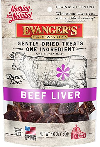 EVANGER'S 776310 Nothing But Natural 100-Percent Beef Liver Food Treat for Dog/Cat, 4.6-Ounce