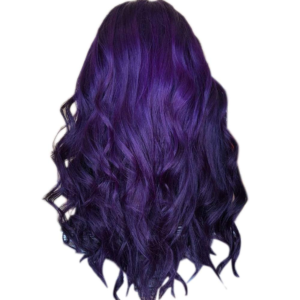 Cosplay Europe Girls Short Hair Extensions Natural Purple Party Long Curly Hair Wig (purple)