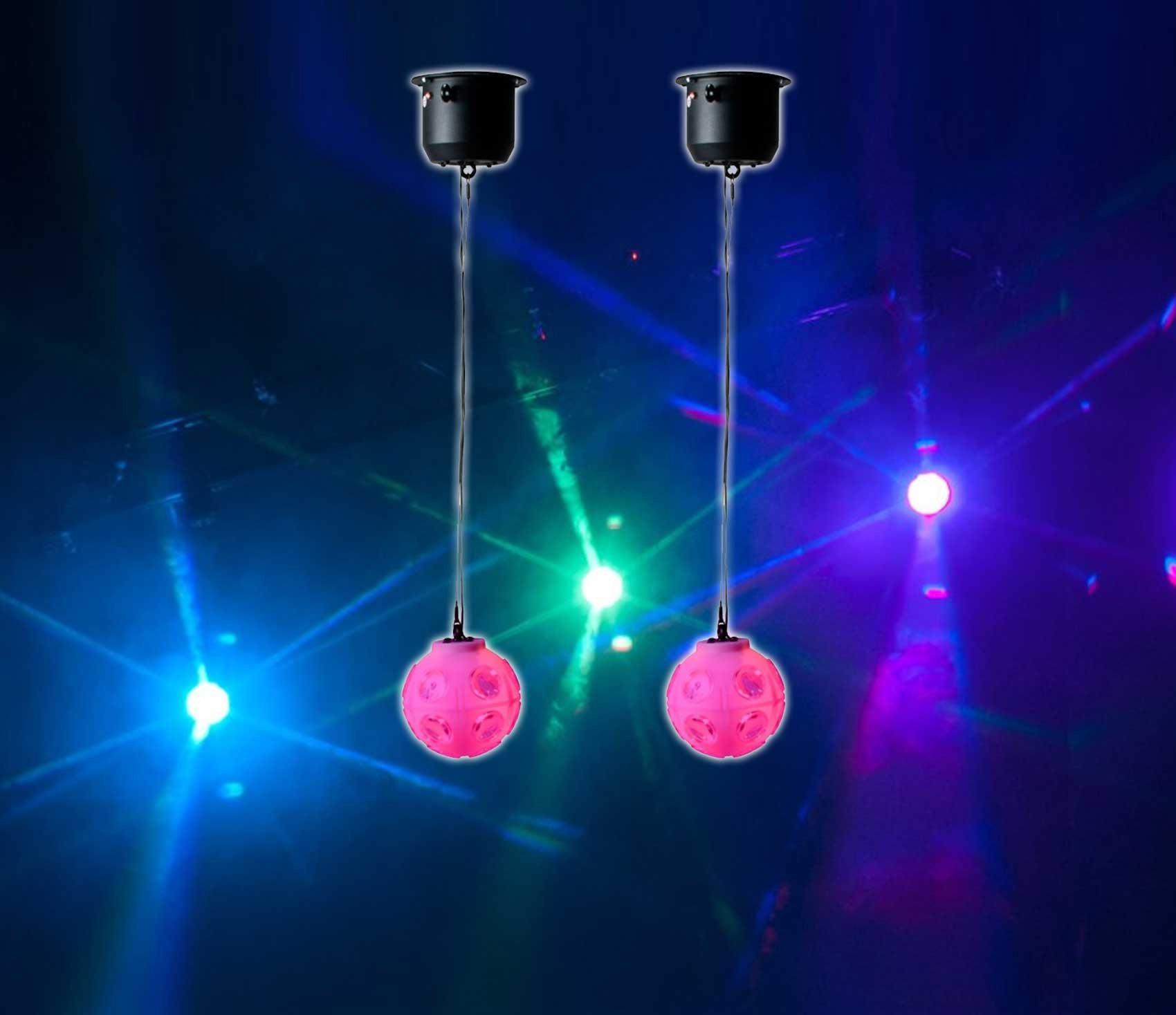 2) American DJ ADJ Jelly Globe Rotating Disco Ball Dance Floor LED Effect Lights