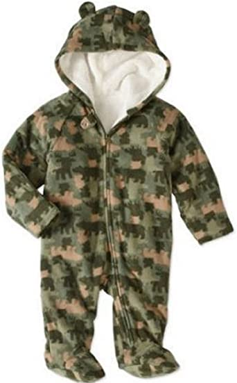 Newborn//Infant Sweet and Soft Girls Fleece Footed Pram Snowsuit with Mittens