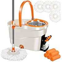 Spin Mop with Foot Pedal Bucket 6L Mops and Bucket Set with 4 PCS Microfiber Mop Refills & 5 Cleaning Cloths Hardwood…