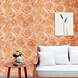 Self Adhesive Wallpaper, Peel And Stick Thick 3D Texture Home Decor Contact Wallpaper For Home Living Room, Bedroom, TV Background(Luxury Orange Rose 23.62''X 196.85'' inch)