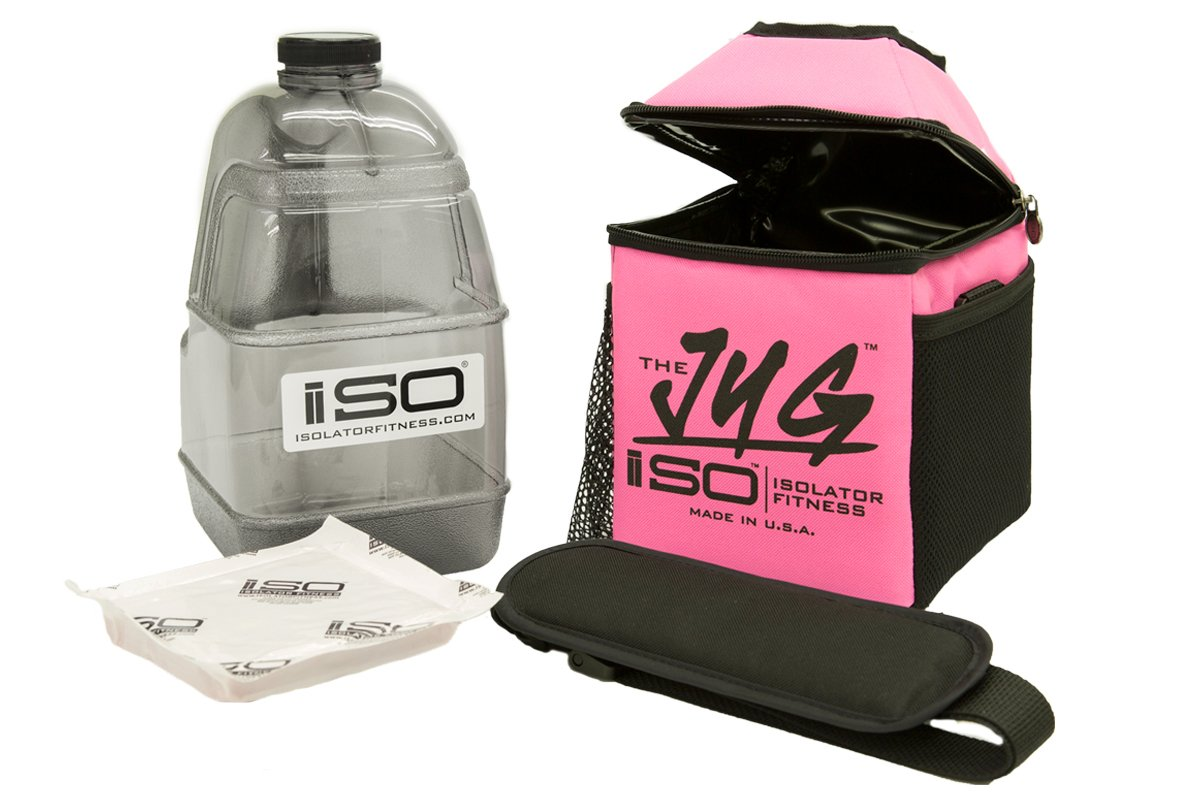 Isolator Fitness ISOJUG COMBO Insulated One Gallon Water Jug Holder AND One Gallon BPA Free Gallon Jug with ISOBRICK and Shoulder Strap -MADE IN USA (Pink)