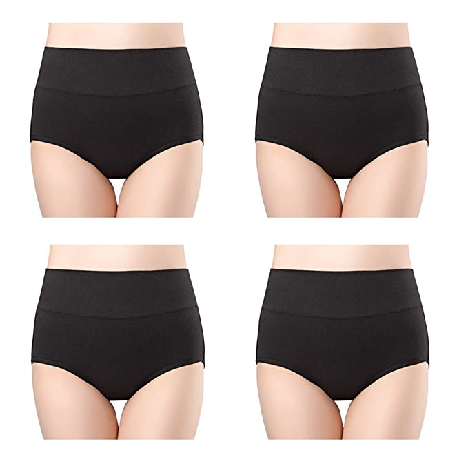 43eeea885e1 wirarpa Women s Cotton Underwear High Waisted Full Brief Panty No Muffin Top  Underpants 4 Pack Black