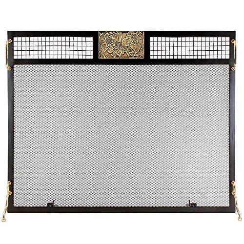 (Minuteman International SES-3830AC Clematis Emblem Fireplace Screen, Antique Brass,)