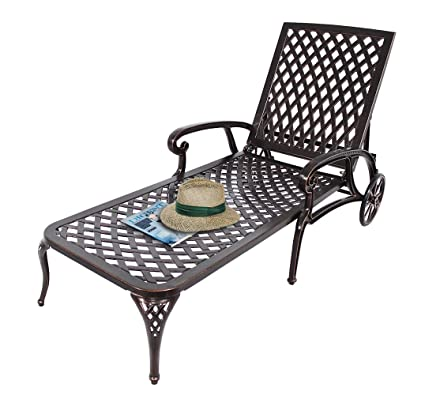 Astonishing Homeefun Chaise Lounge Outdoor Chair Aluminum Pool Side Sun Lounges With Wheels Adjustable Reclining Patio Furniture Set Pack Of 1 Antique Bronze Squirreltailoven Fun Painted Chair Ideas Images Squirreltailovenorg