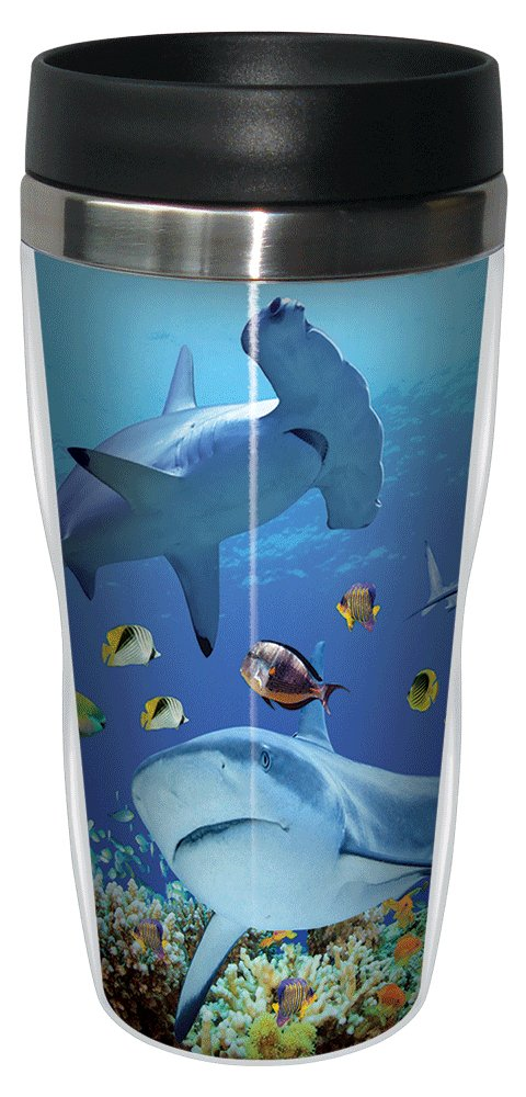 Shark Collage Travel Mug, Stainless Lined Coffee Tumbler, 16-Ounce - Gift for Shark Week Lovers - Tree-Free Greetings 25957