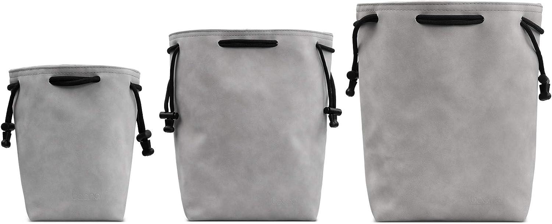 (3 Pack) Baona Camera Lens Bag, Waterproof Velvet Camera Small Travel Bag Case Drawstring Pouch for DSLR Nikon Canon Sony Pentax Camera and Lens (3PCS-PU-Gray)