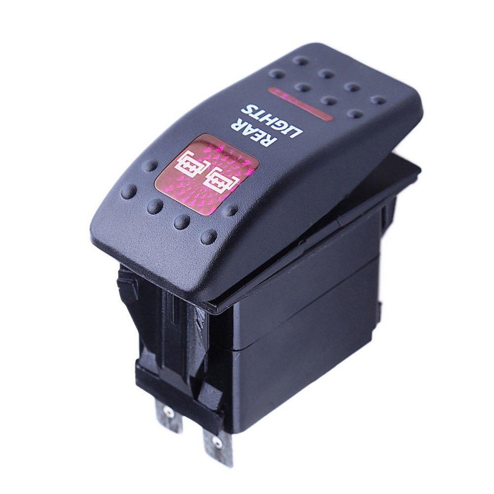 Fog Light Mintice/™ Interrupteur /à Bascule Commutateur Lampe Lumi/ère LED Rouge 12V 20A pour Voiture Bateau Moto
