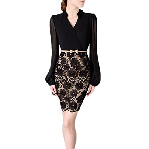 Womens Surplice Lace Embroidered Wrap Dress Business Attire