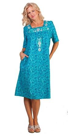 La Cera Plus Cotton House Dresses Short Sleeve Dress in Teal Mint