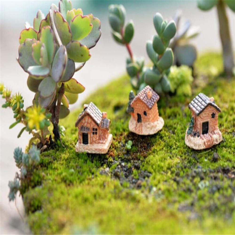 JIAHUADE 3Pcs Mini Small House Chalets DIY Toys Crafts Figure Foam Terrarium Fairy Garden Ornament Landscape Decor Random Style
