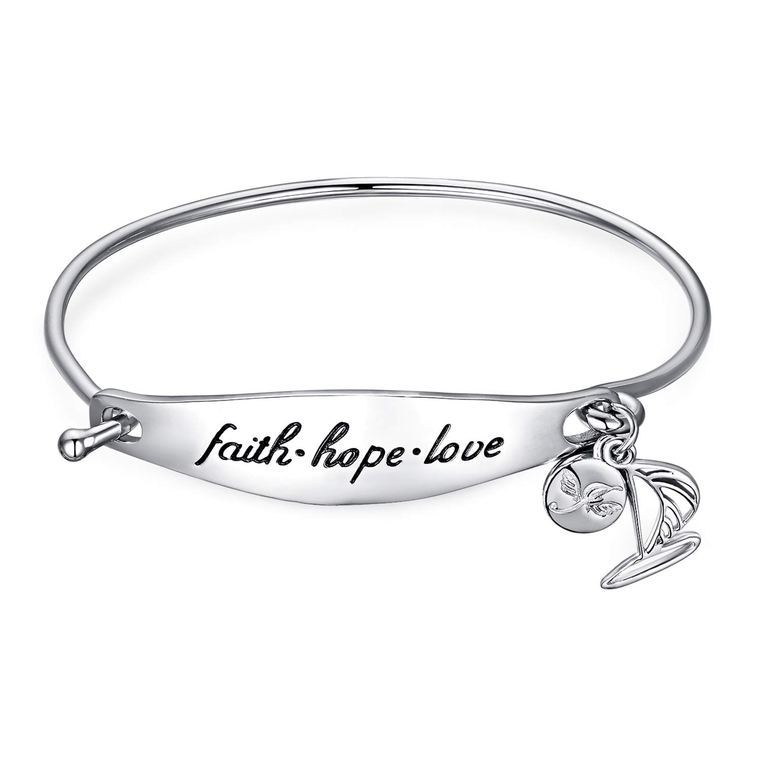 36ff3765d013 Amazon.com  JewelryPalace Personalized Hand Stamped Faith Hope Love Dangle  Sailboat 925 Sterling Silver Bangle Bracelet  Jewelry