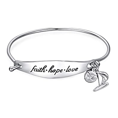 9e58dde4d7d4 Image Unavailable. Image not available for. Color  JewelryPalace Personalized  Hand Stamped Faith Hope Love Dangle Sailboat 925 Sterling Silver Bangle ...
