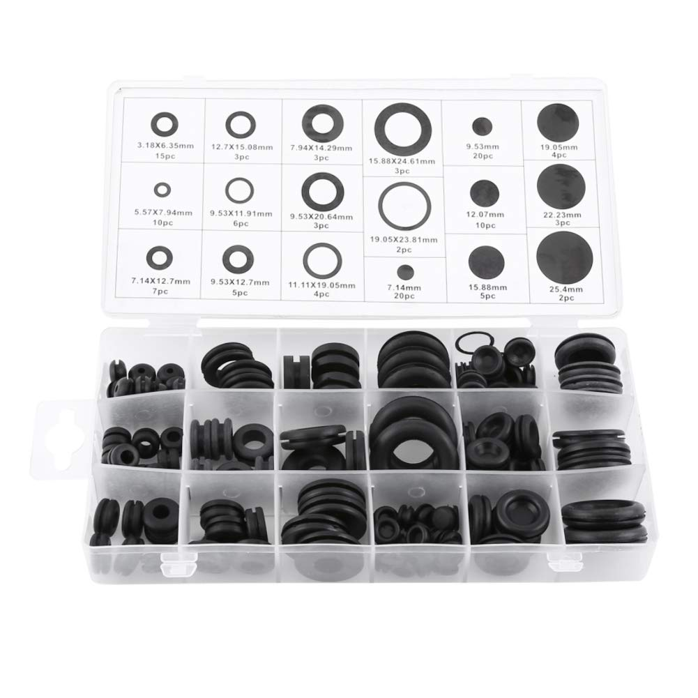 125pcs Rubber Grommet Firewall Hole Plug Set Electrical Wire Gasket Assortment Kit in 18 Sizes Hilitand